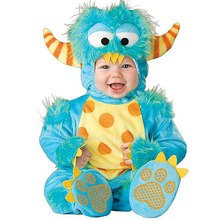 New Toddlers Baby Blue Elf Monster Costume with Horn Christmas Halloween Purim Holiday Dress Up Outfit