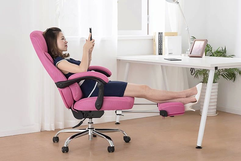 office boss chair with footrest computer lounge stool black brown gray pink ect color free shipping 240337 ergonomic chair quality pu wheel household office chair computer chair 3d thick cushion high breathable mesh