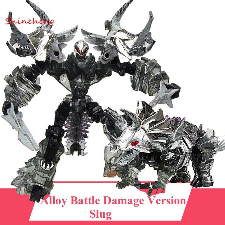 ФОТО SHINEHENG Deformation Movie 4 Triceratops Slug Robot Dinosaur Model ABS&Alloy Action Figure Toy Boy Gift Battle Damage Version