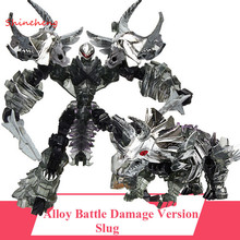 SHINEHENG Deformation Movie 4 Triceratops Slug Robot Dinosaur Model ABS&Alloy Action Figure Toy Boy Gift Battle Damage Version