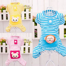 Stripe Cotton Dog Pajamas Coat Pets Cute Comfortable Cotton Clothes Dog Footie Pajamas Clothes With Pockets