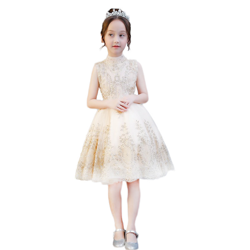 2019 New   Flower     Girl     dresses   for Weddings Gold Little Kids Satin First Communion   Dresses   Glitz Ball Gown Pageant   Dress