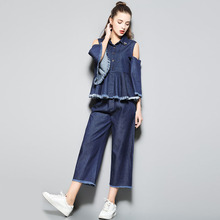2017 Spring Designer Runway Sets Women's Two Piece Clothing Set Flare Sleeve Off Shoulder Denim Shirt and Pants Suit Sets