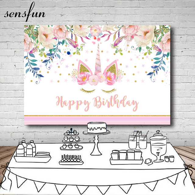 Sensfun Beautiful Flowers Pink Unicorn Party Backdrop For Photo Studio Girls Happy Birthday Photography Backgrounds 7x5FT