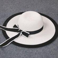 Новый летний ребенок девушки и дамы полосатый лук cap большой вдоль шляпа солнца пляж hat белый и черный lm1-2