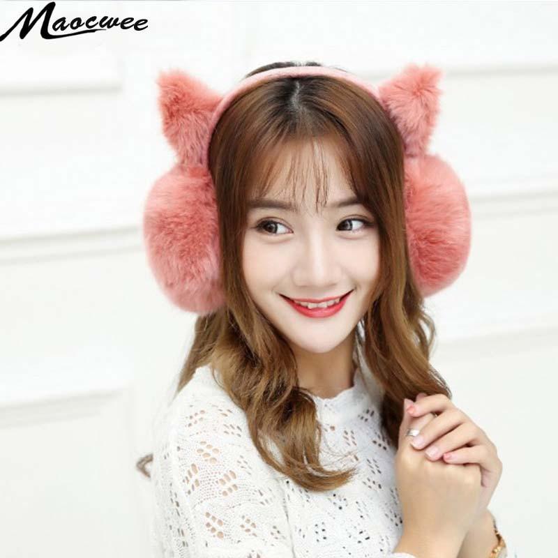 Women Winter Rabbit Fur Earmuff Warm Ear Muffs Headphones Girls Cat Shape CartoonEarmuff For Women Ear Muff Warmers Pink 2017