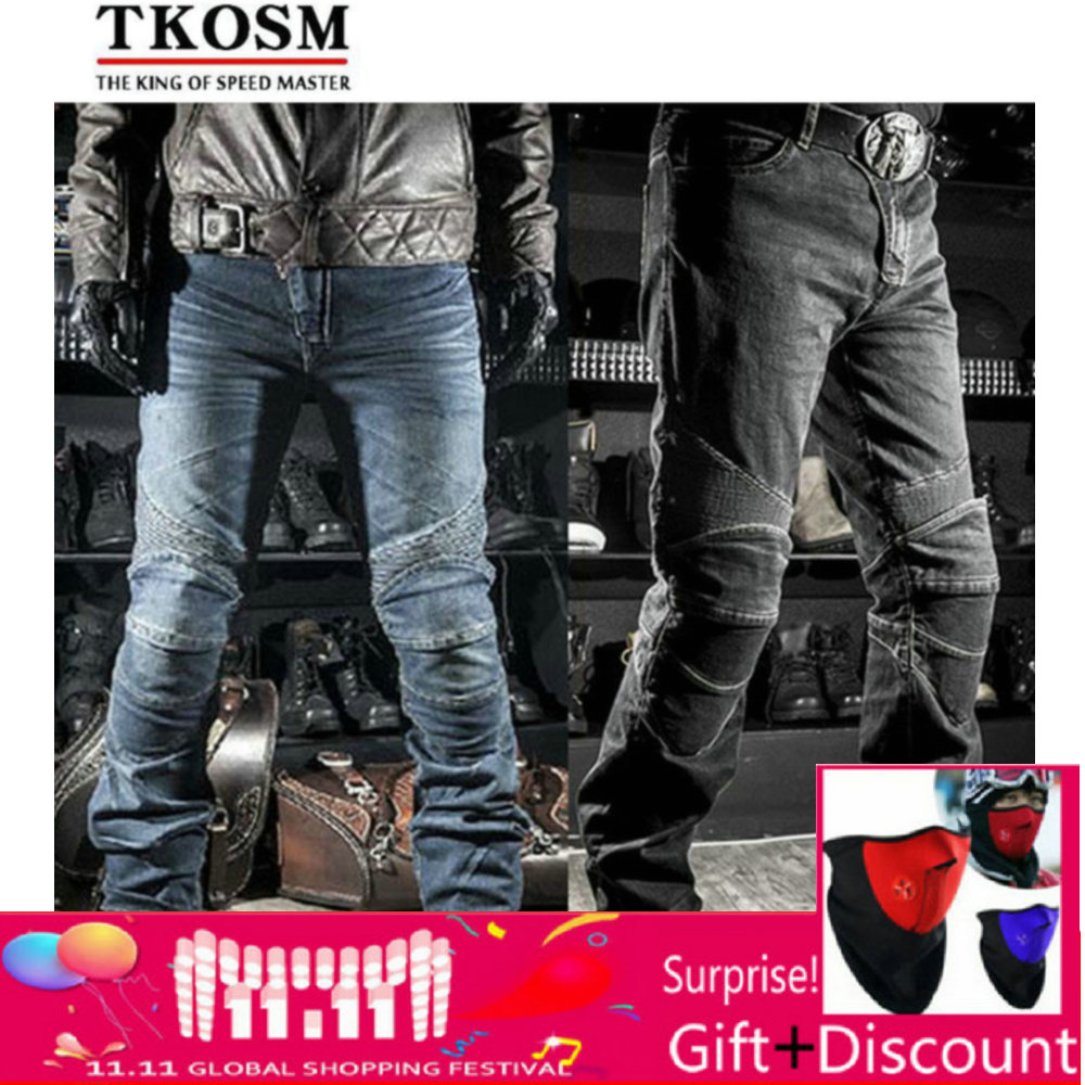 цена на VOLERO High Quality Motocross Motorcyle Pants for Men Moto Racing Jeans With Knee Pad Trousers Moletom Moto Comfortable Trousers