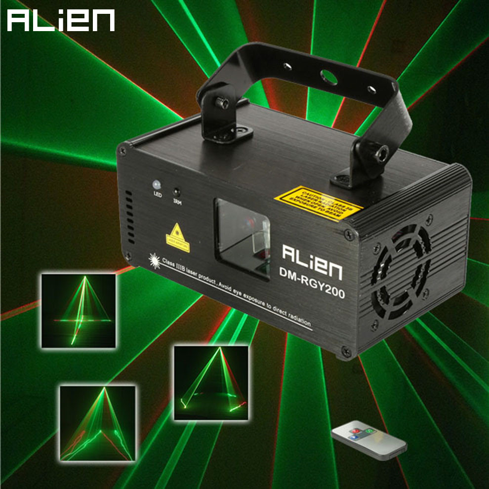 ALIEN Remote DMX512 200mW RGY Laser Stage Lighting Scanner Effect Dance DJ Disco Party Show Light Xmas Projector Lights alien 300mw rgb stage lighting effect dj disco party home wedding laser projector light xmas remote laser system show lights