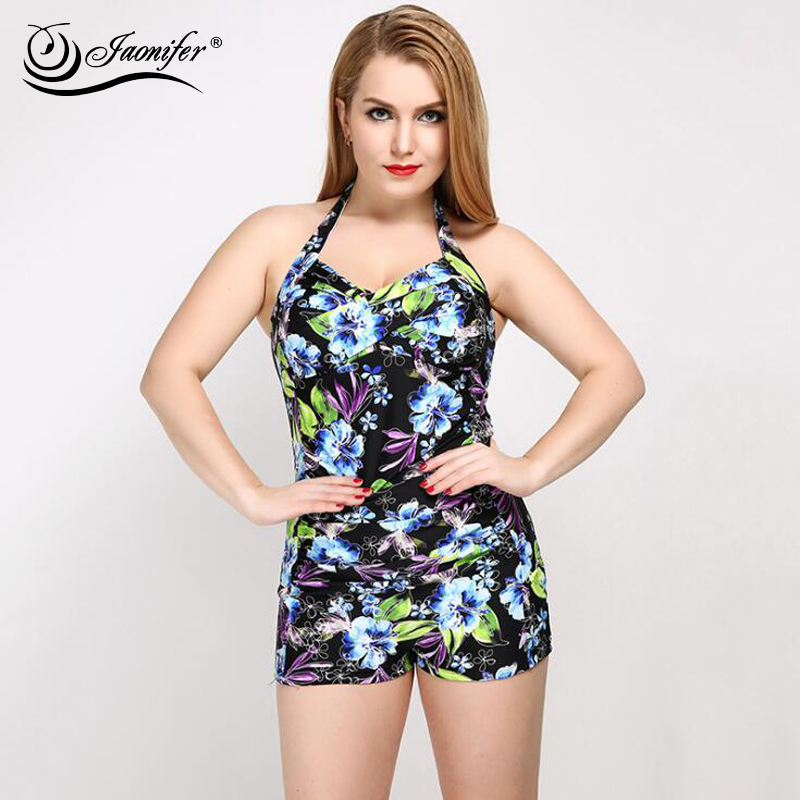 2018 Plus Size One Piece Swimwear Women Halter Backless Swimsuit Printed Bathing Swimming Suit for Women Ladies Swimwear Tankini plus size zigzag backless one piece swimsuit