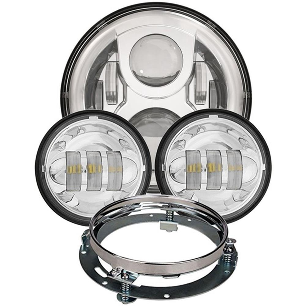 Harley 2nd 7'' LED Round Headlight + Matching 4.5 Inch LED Passing Lamps Fog Lights +Adapter Ring For Harley Davidson Motorcycle 7 inch black harley daymaker led headlight 2x4 1 2 fog light passing lamps for harley davidson ultra classic glide motorcycle