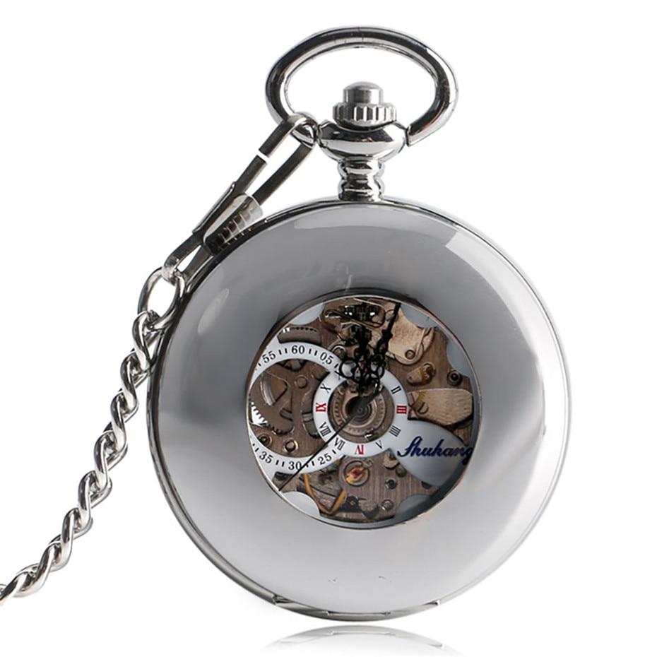 Silver Hollow Circle Round Design Mechanical Self Wind Pocket Watch Roman Numerals White Dial Retro Clock Souvenir Unisex Gifts