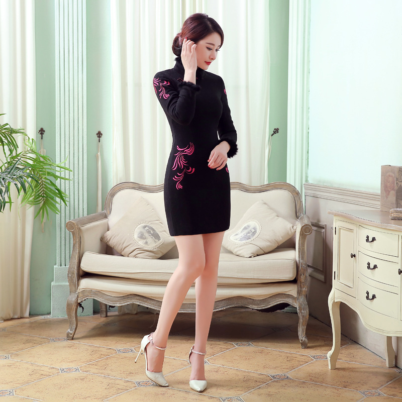 Nouveau Lapin Qipao Vintage Xl F101415 Femmes Mini Hiver Taille M Chinois Noir Xxl Laine S Style L Robe Noir Automne De Mode rouge Cheongsam rqF6xwrC