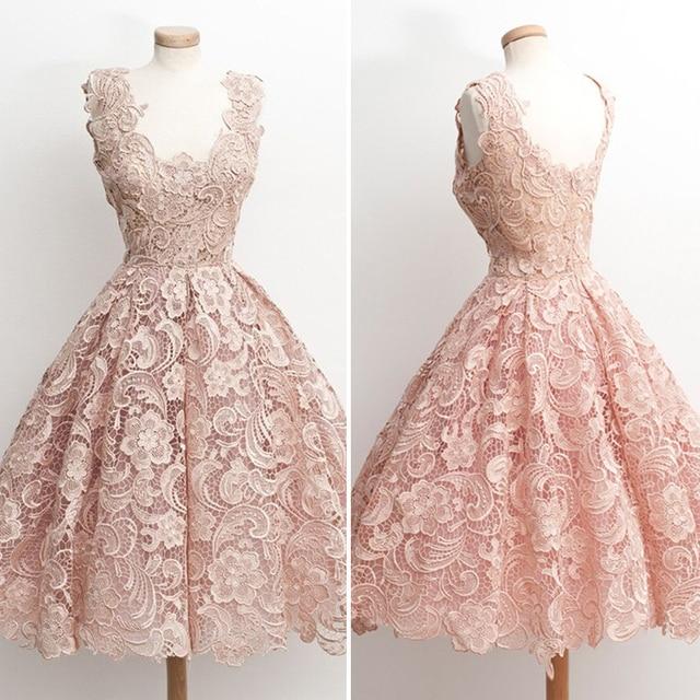 Vintage Spitze Kurze Brautkleider 2016 Rosa Appliques Spitze Kurz ...
