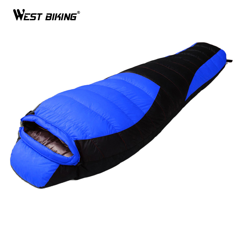 WEST BIKING Ultralight Mummy Sleeping Bag Winter Autumn Outdoor Thicken Camping Splicing White Duck Down Single Sleeping Bag aegismax winter camping sleeping bag ultralight mummy duck down splicing double sleeping bags
