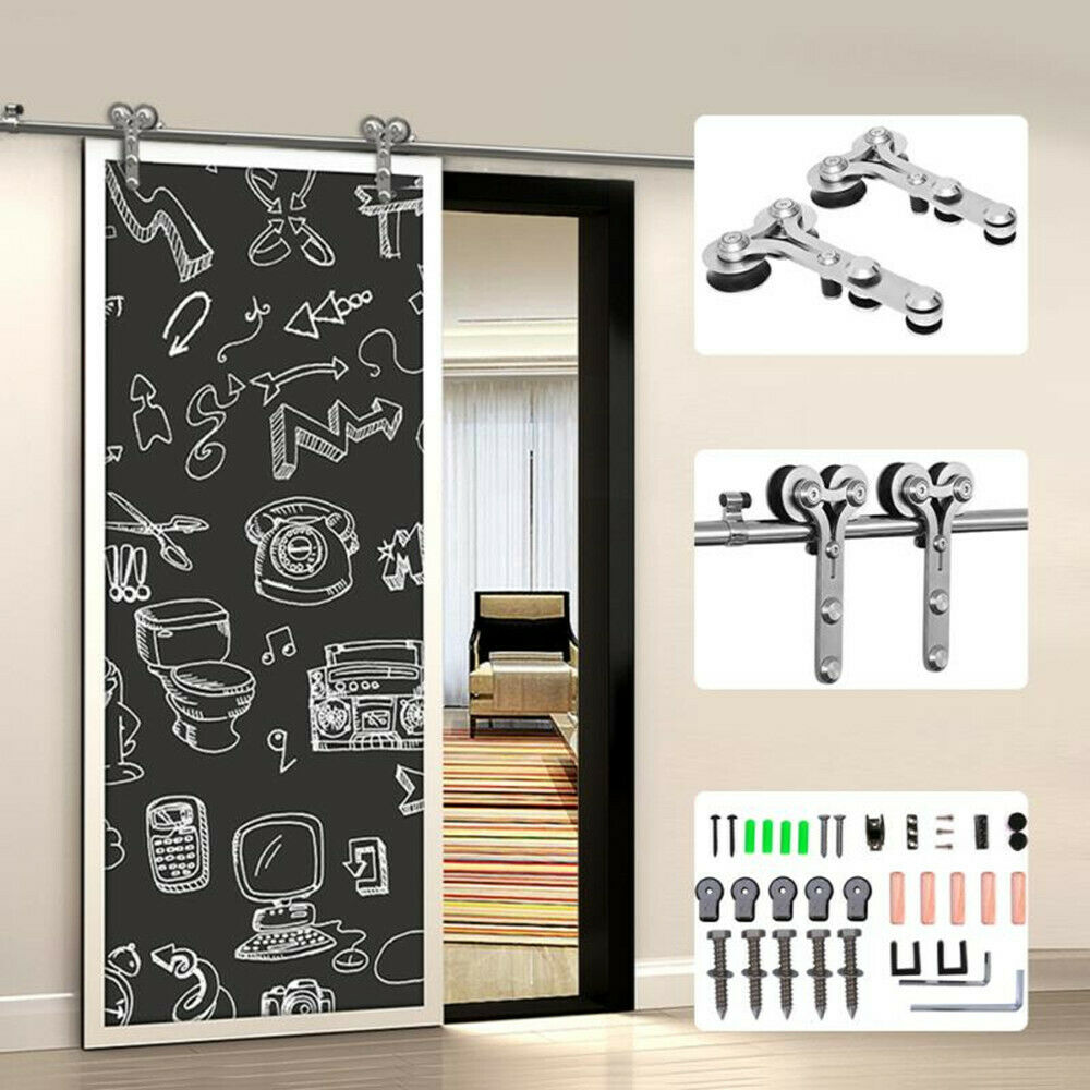 LWZH 10-16FT Y-Shaped Silver Modern Stainless Steel Puerta Corredera Wooden and Glass Sliding Door Hardware Kit for Single Door
