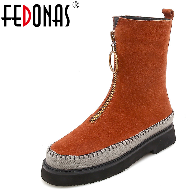 FEDONAS 1New Arrival Women Mid-Calf Boots Cow Suede Autumn Winter Warm Platforms Flats Shoes Woman Round Toe Buckle Martin Boots
