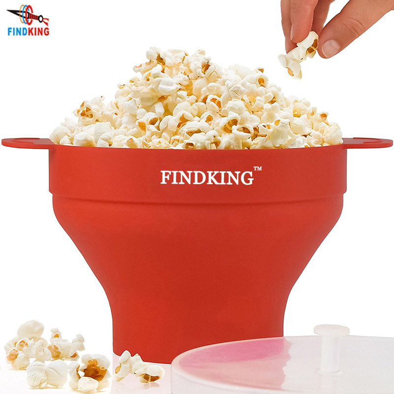 Random Colour, Microwavable Popcorn Maker Silicone Bowl with Cover