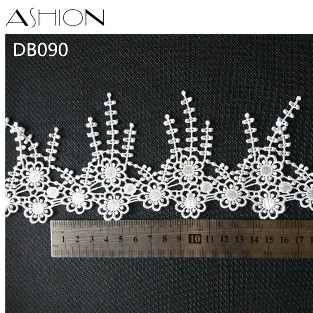 3 yards 9CM white Embroidered Lace Fabric DIY skirt hem Dance costumes  Garment Accessories lace trim