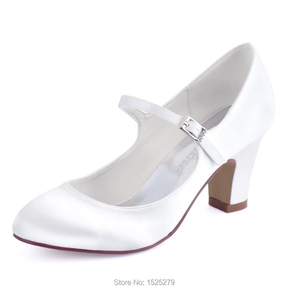 Elegantpark HC1801 White Ivory Wedding Bridal Shoes Closed Toe high Heel  Satin Women lady bride Bridesmaids 6ea339e79aae
