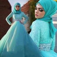 BacklakeGirls Hồ Xanh Cao Eo Sang Trọng Khăn Hồi Giáo Wedding Dress Full Sleeves Cộng Với Kích Thước Beading Pha Lê Bridal Gown Belt
