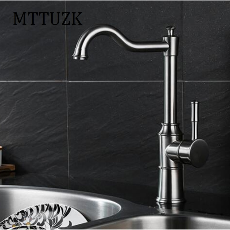 ФОТО MTTUZK High-quality 304 stainless steel wire drawing kitchen faucet 360 degree rotary table wash basin fauce hot cold faucet tap