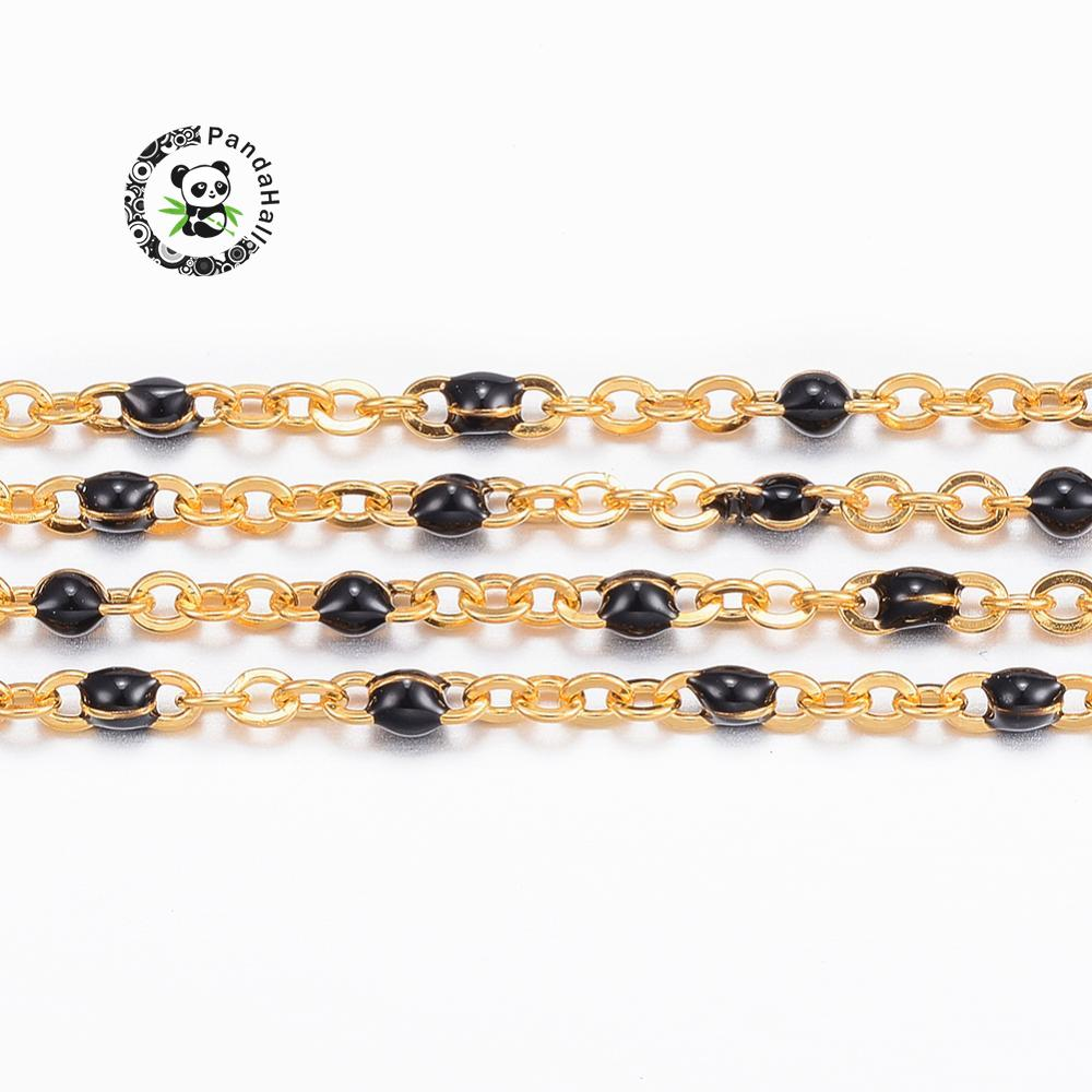 304 Stainless Steel Cross Chains with Enamel Golden Black 1 5mm Links 2x1 5x0 5mm 10m
