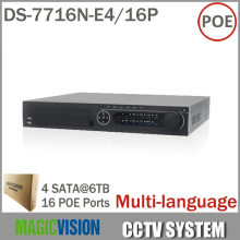 16CH NVR DS-7716N-E4/16P with 16 POE Interface For HD IP Camera With 4SATA for HDD Multi-language Network Video Recorder