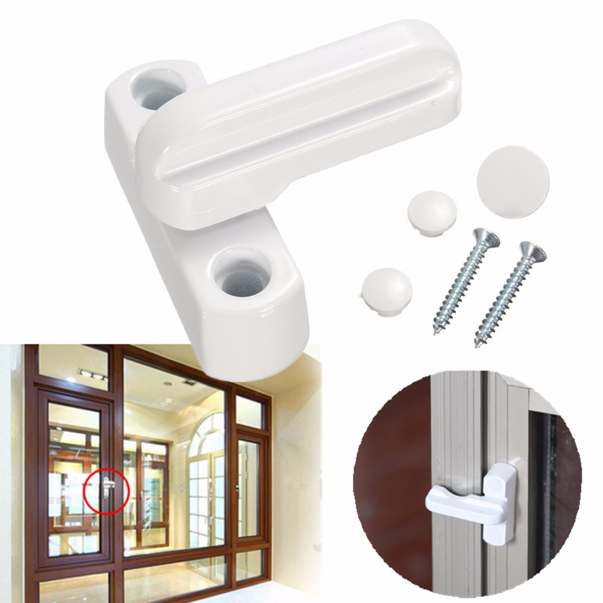 8pcs T Type Window Safety Locks UPVC Door Sash Jammer Security Restrictor Lock