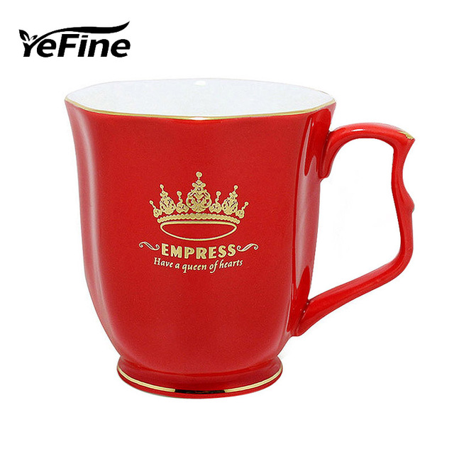 YeFine Ceramic Cups And Saucers European Style Royal Classic Princess Cups Delicate Bone China Coffee Mugs 24 k Gold Fringe
