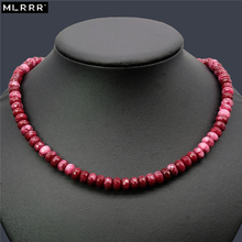 Vintage Classic Lab-created Natural Stone Jewelry Noble Simple 5*8mm Rubies Beaded Chain Necklace 46cm(China)