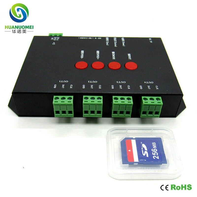 Contrôleur T-4000S de pixel de la carte sd led, variateur de T-4000 rvb ws2812b polychrome de led de contrôle; 4ports * 1024 pixels, avec l'adaptateur DC5V 2A