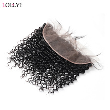 Lolly Hair Peruvian Deep Wave Frontal Closure 8-20 inch Non Remy Human Hair Frontal Free Part Swiss Lace Closure 130% Density
