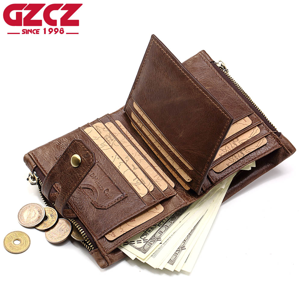 Symbol Of The Brand Gzcz Wallet Genuine Cow Leather Women Men Fashion Solid Zipper Standard Wallets Short Small With Coin Pocket And Photo Holder Discounts Sale Luggage & Bags Wallets