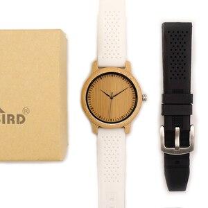 Image 3 - BOBO VOGEL WB07 Bambus Holz Uhr für Männer Einfache Stil Holz Zifferblatt Gesicht Quarzuhr mit Weichen Silikon Strap Extra band als Geschenk