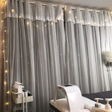 Romantic Stars Window Curtains for Living Room Bedroom Kids Wedding Lace Voile Tulle Curtain Double Layer Blackout