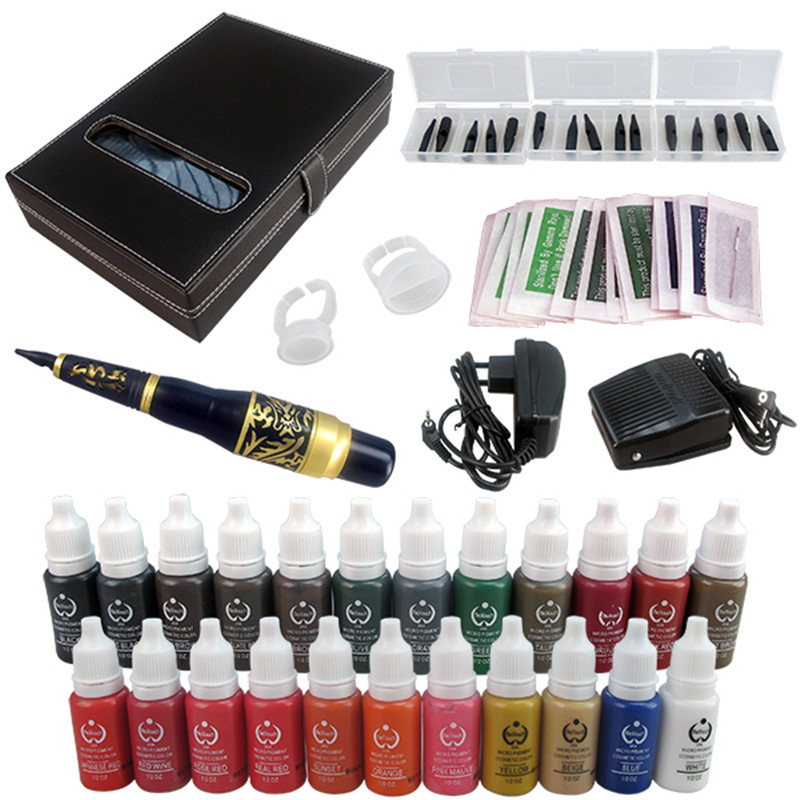 ФОТО Solong Tattoo Permanent Makeup Kit Tattoo Pen Eyebrow Lip Machine Set 23 Makeup Inks EK707-6