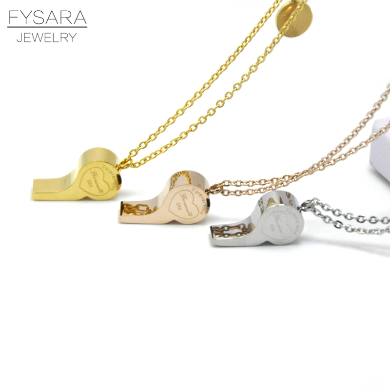 FYSARA Fashion Jewelry Chain Link Letter Forever Love Necklace Pendant  Whistle Short Necklace For Women Stainless 1c2df6d211a5
