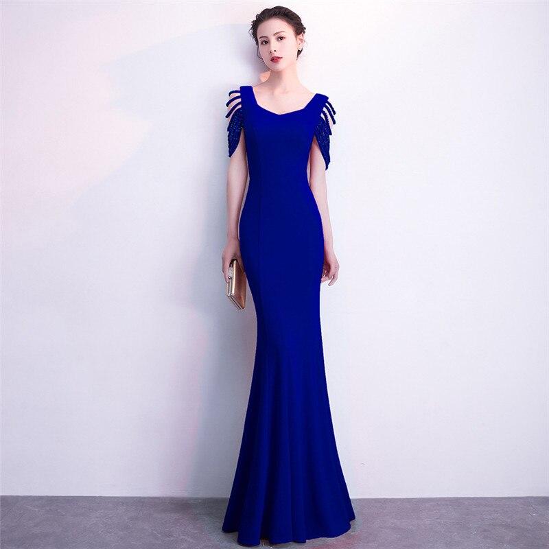 Perles bleues évider manches courtes sirène mince longue robe formelle femmes élégant Sexy Club robes 2018 nouveauté fête porter
