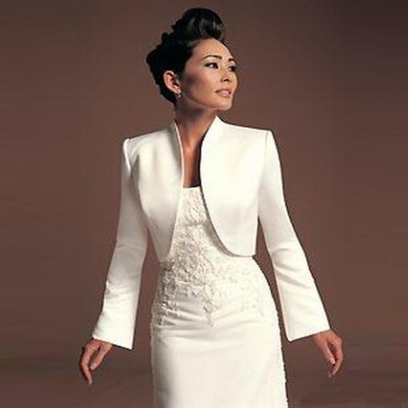 Long Sleeve Formal Ivory Wedding Bolero Satin Bridal Jacket Good Quality Custom Made Wholesale Wedding Coat