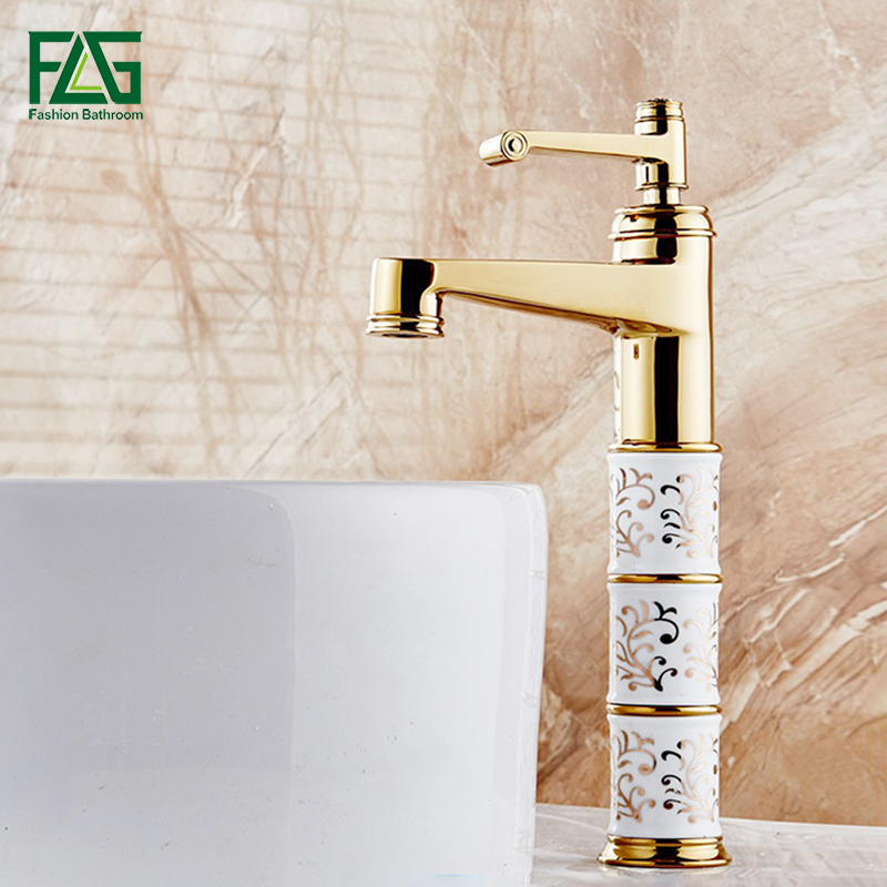 FLG Basin Faucet Gold Bathroom Faucets Platform Heightening Cold With Diamond And Porcelain Wash Basin Mixer Tap Robinet 055G pastoralism and agriculture pennar basin india