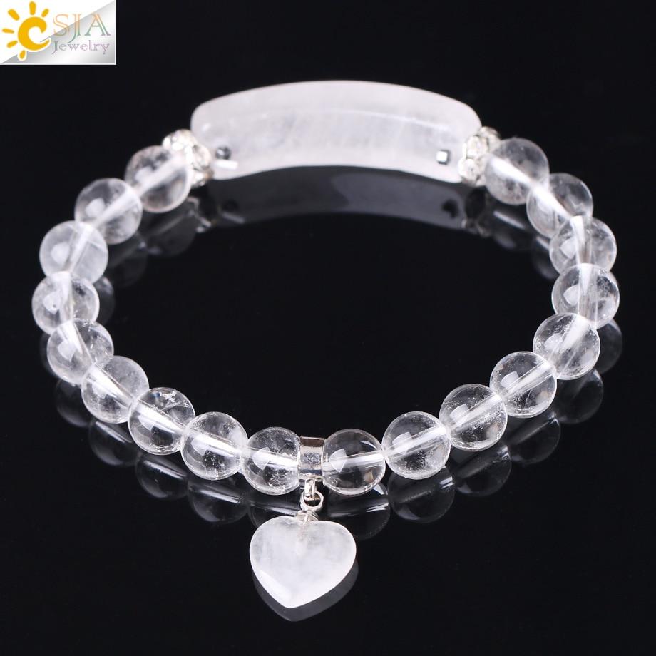 CSJA Reiki Boho Natural Gem Stone White Clear Quartz Rock Crystal Bracelet For Men Women Lover Heart Pendant Chakra Jewelry F277