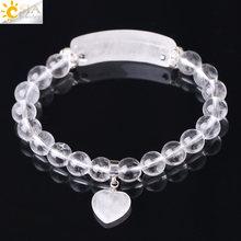 Csja reiki boho natural pedra da jóia branco claro quartzo rock cristal pulseira para homem amante coração pingente chakra jóias f277