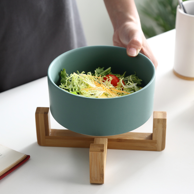 Nordic Ceramic Tableware Creative Salad Bowl Instant Noodle Bowl Soup Bowl Fruit Dessert Bowl Western Tableware Wooden Stand Set in Dinnerware Sets from Home Garden