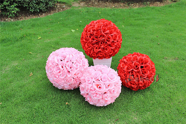 Jiumengya Store 4pcs 18cm Kissing Ball Rose Ball Flower for Wedding Party Suppermarket Floral Decoration 7 Colors