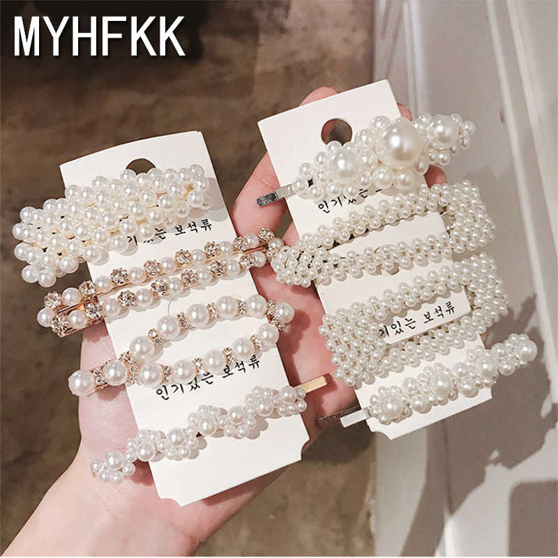 MYHFKK2019 hot fashion handmade gold pearl imitation hairpin snap hairpin hair styling accessories female hair accessories FJ005