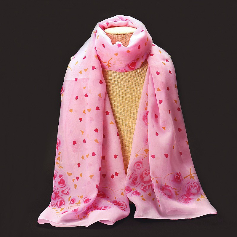 Sweet Roses Chiffon Scarf | Lightweight Scarves