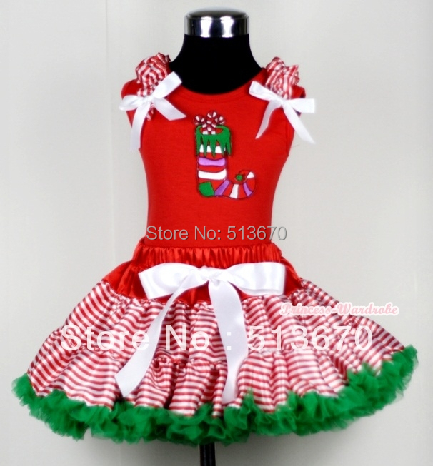 XMAS Red White Streak Pettiskirt Red Top Ruffle Bow with Christmas Sock Set 1-8Y MACM121 one crow alone