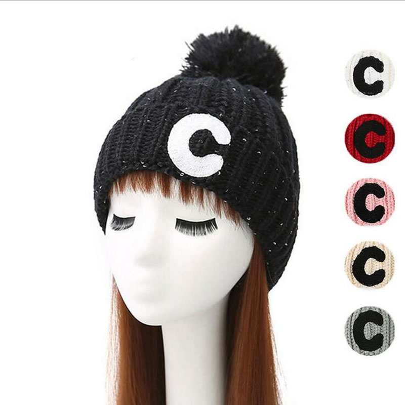 Letter C Winter Women's Thicken Warm Pompom Autumn Spring Pom Shoe Ball Knitted Hat Female For Women Girls knit Hats Caps Beanie hot skullies beanies winter hat pom pom caps unicorn letter for women girl vintage warm spring autumn hat female woct4