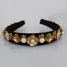 Trendy gem Baroque Golden coin lace Hair Jewelry Accessories Flower pearl Headbands Female Wedding Crystal Headwear Bridal Tiara