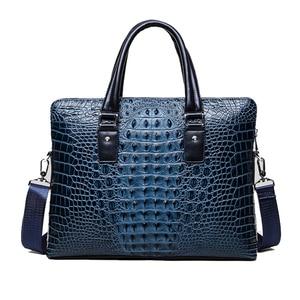"Image 2 - Famous design briefcase Luxury Crocodile pattern cowhide leather Totes handbag briefcase male shoulder bag  14"" Laptop bags"